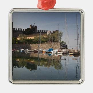 Italy, Verona Province, Torri del Benaco. Il Silver-Colored Square Decoration