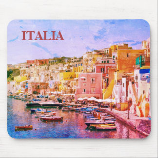 Italy Vintage Art Fishing Port of Procida Mouse Mat
