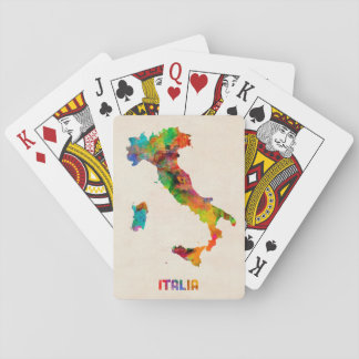 Italy Watercolor Map, Italia Playing Cards
