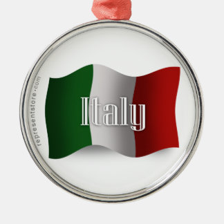 Italy Waving Flag Silver-Colored Round Decoration