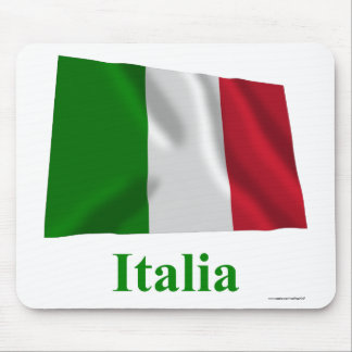 Italy Waving Flag with Name in Italian Mouse Mat