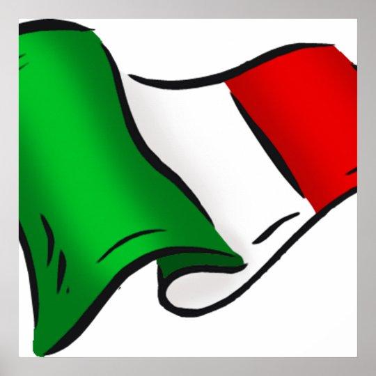 Italy wavy flag poster