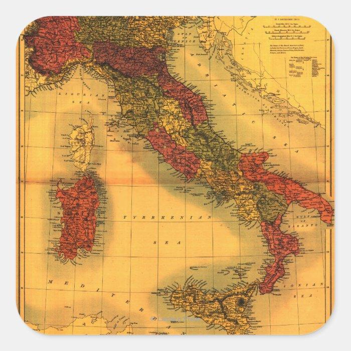 ItalyPanoramic MapItaly Square Sticker
