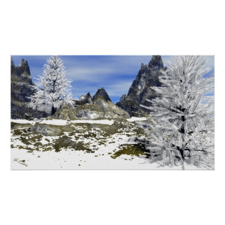 Item 120613 Snow Mountain with Trees Daytime Poster