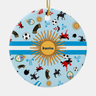 Items of Argentina with flag across it Round Ceramic Decoration