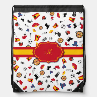 Items of Spain with flag to add your monogram Drawstring Bag