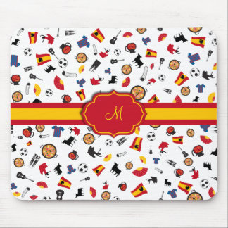 Items of Spain with flag to add your monogram Mouse Pad