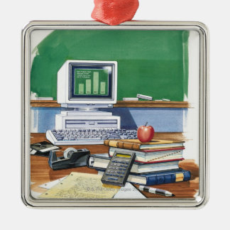 Items on a school teachers desk  Color Christmas Ornament