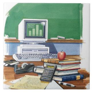 Items on a school teachers desk  Color Tile