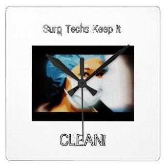 """Items """"Surg Techs Keep It Clean!"""" Clocks"""