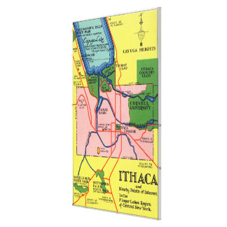 Ithaca and Nearby Points of Interest Canvas Print