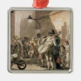 Itinerant Musicians playing in a poor part of town Silver-Colored Square Decoration