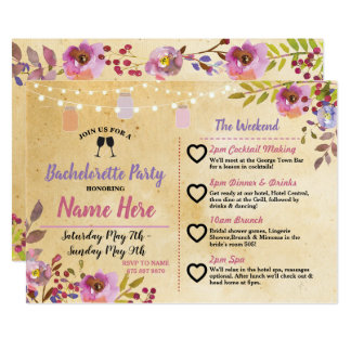 Itinerary Bachelorette Party Floral Jars Pink Wood Card