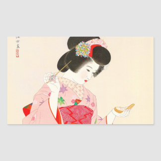 Ito Shinsui Make up vntage japanese geisha lady Rectangular Sticker