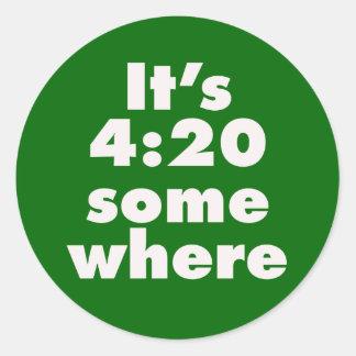 It's 4:20 Somewhere Round Sticker