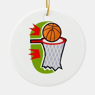 It's a 3 Point Shot Round Ceramic Decoration