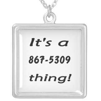 it's a 867-5309 thing square pendant necklace