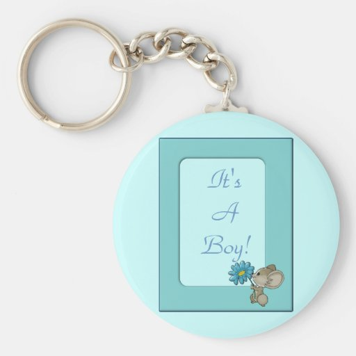 Its A Baby Boy! Cute Mouse Frame Design Key Chains