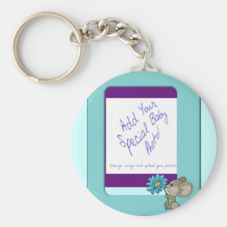 Its A Baby Boy! Cute Mouse Frame Design Keychain