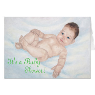 It's a Baby Shower Green Invitaion Note Card