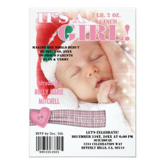 It's A Beautiful Baby Girl Magazine Cover 13 Cm X 18 Cm Invitation Card