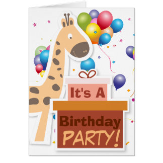 """Its A Birthday Party"" Cartoon Animals Card"