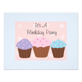 It's A Birthday Party with Cupcakes Custom Invite
