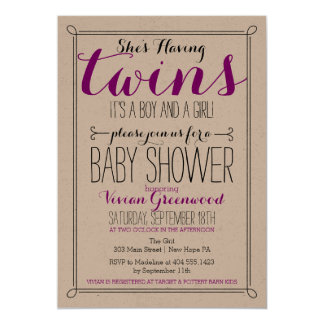 It's a Boy & a Girl Twin Baby Shower Invitation