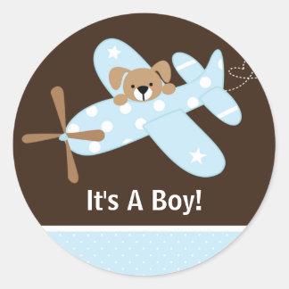 It's A Boy Airplane Baby Birth Announcement Round Sticker