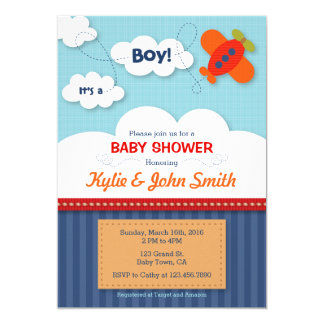 It's a Boy Airplane Baby Shower Invitation