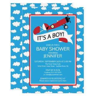 It's a Boy! Airplane Boys Baby Shower Invite
