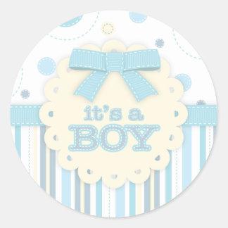It's a Boy All in Blue Stitches & Bow Baby Shower Round Sticker