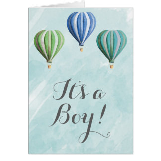 It's A Boy Announcement Card with Hot Air Balloons
