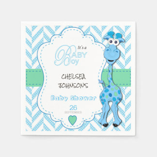 It's a Boy - Baby Blue Giraffe - Baby Shower Disposable Napkins