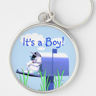 Its a Boy - Baby Bunny in Mailbox Keychain