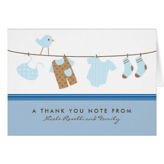 It's a Boy Baby Laundry Thank You Card (blue)