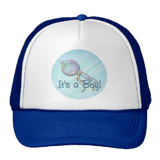 IT'S A BOY BABY RATTLE by SHARON SHARPE Hats