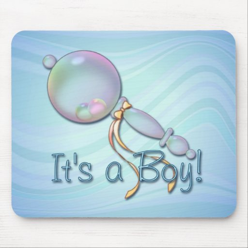 IT'S A BOY BABY RATTLE by SHARON SHARPE Mouse Mat