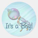 IT'S A BOY BABY RATTLE by SHARON SHARPE Round Sticker
