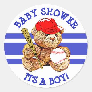 Its a Boy Baby Shower Baseball Teddy Bear Stickers
