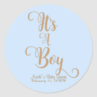 It's A Boy Baby Shower Blue & Gold Custom Favor Classic Round Sticker