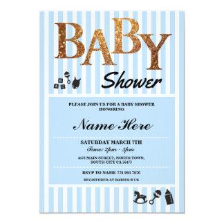 It's A Boy Baby Shower Blue Gold Stripe Invite