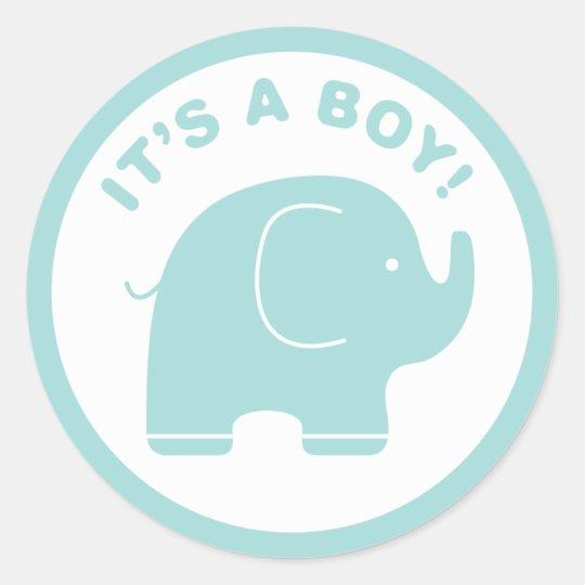 It S A Boy Baby Shower Cute Blue Elephant Sticker Zazzle