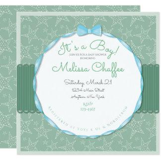 Its a Boy Baby Shower Invitation- Seafoam Green Card