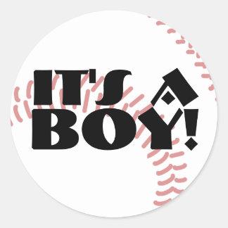 It's a Boy Baseball Birth Announcement Round Sticker