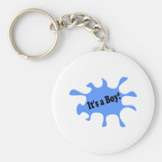 It's A Boy Basic Round Button Key Ring