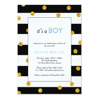 It's A Boy, Black and Gold Shower Invitation