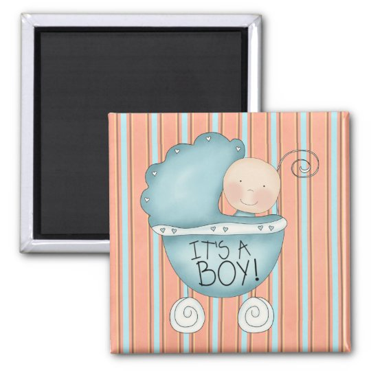 It's a Boy! Blue Baby Buggy Magnet