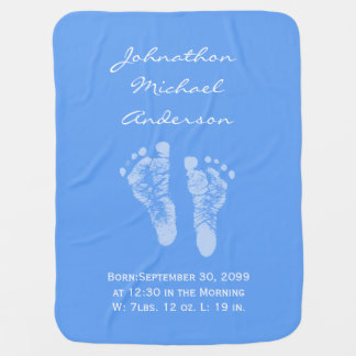 Its a Boy Blue Baby Footprints Birth Announcement Baby Blanket