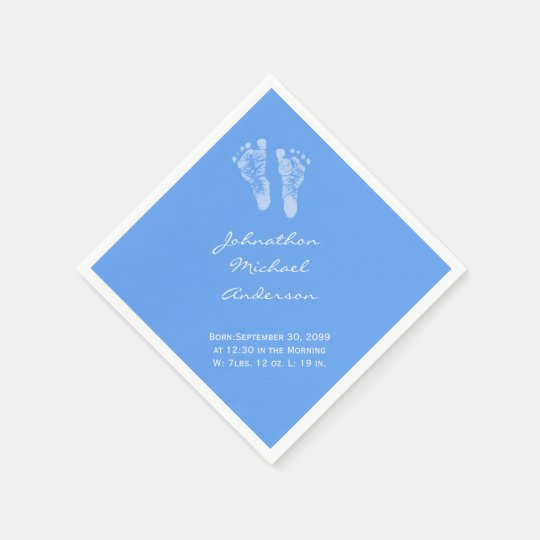 Its a Boy Blue Baby Footprints Birth Announcement